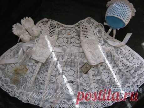 Крестильное платье крючком. Работа Людмилы Петровой