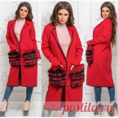Пальто с меховыми карманами кролик