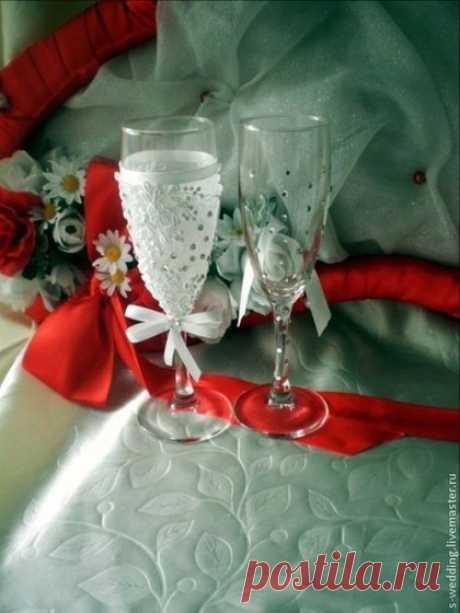 Купить Бокалы Испания - белый, бокалы на свадьбу, свадебные аксессуары, набор на свадьбу, невесте, стразы