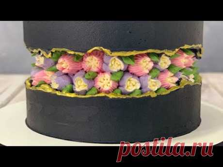Fault Line Cake   Russian tip Flowers