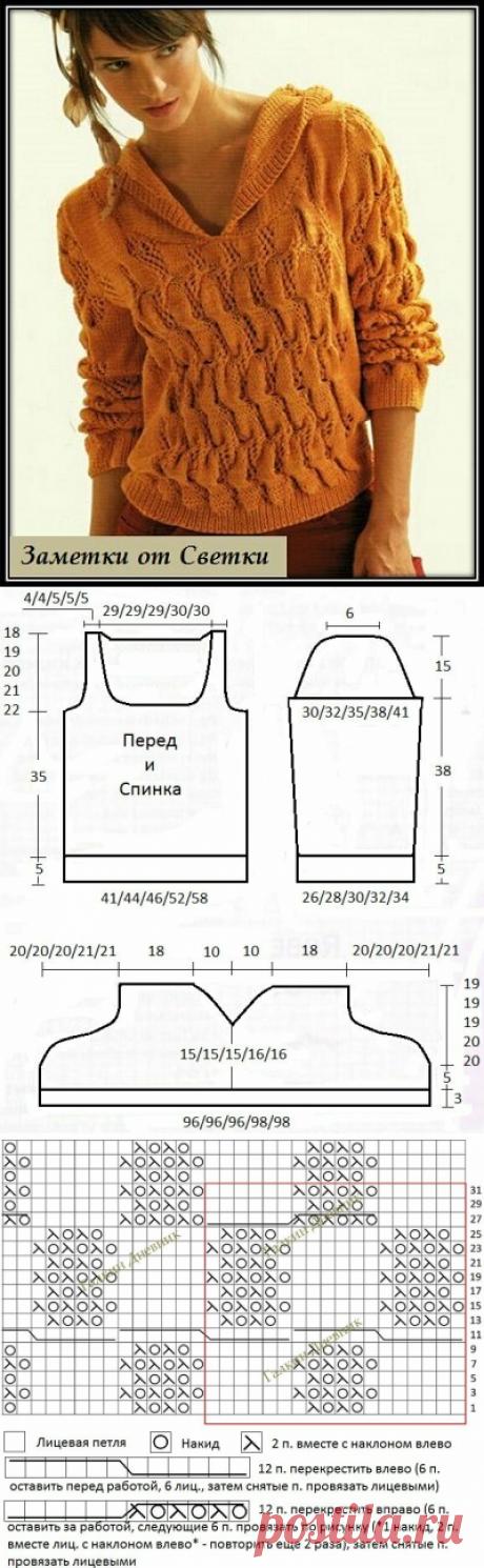 """Заметки от Светки /Пуловер от французских дизайнеров - размеры 34 - 52   """"Заметки от Светки"""" - вязание   Яндекс Дзен"""