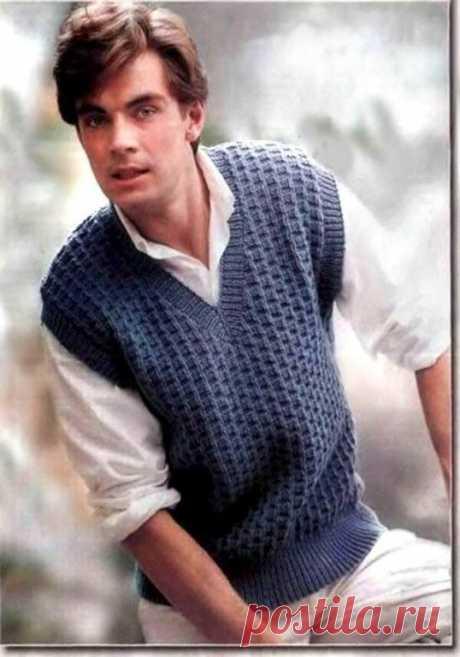 Мужская безрукавка рельефным узором (Вязание спицами) — Журнал Вдохновение Рукодельницы