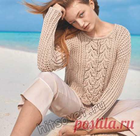 Вязание спицами для женщин красивого летнего пуловера со схемой и пошаговым описанием.