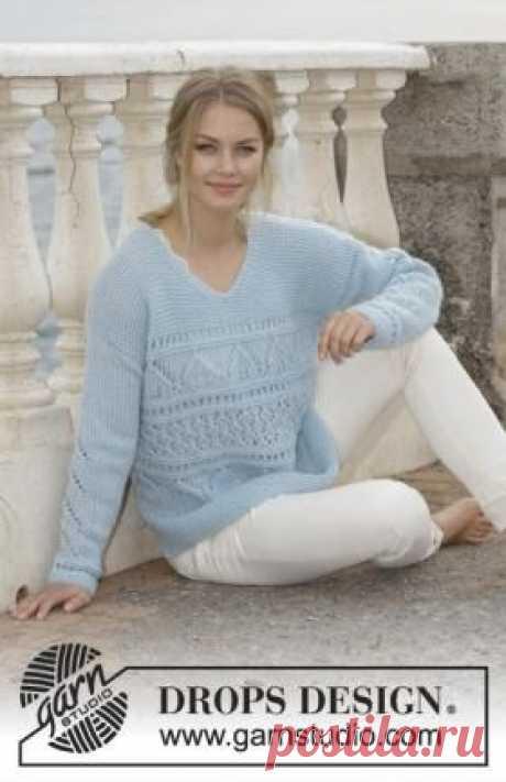 Теплый и мягкий пуловер, связанный из тонкой пушистой пряжи в две нити на спицах 6 мм. Вязание всех деталей модели
