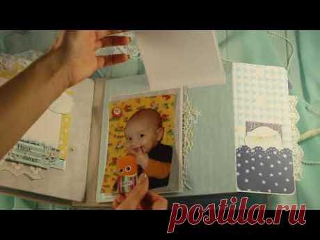 """Фотоальбом ручной работы """"Счастливые моменты"""" для мальчика ✿ Фотоальбомы на заказ - YouTube"""