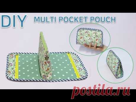 DIY Multi pocket pouch/Useful pouch/Cosmetic Pouch/다양한 용도의 예쁜 파우치만들기/화장품파우치[JADAILY]