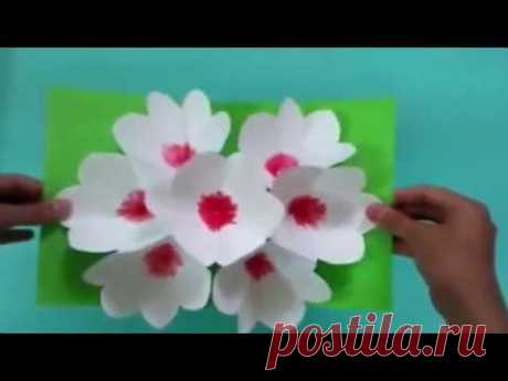 3D card the hands flowers for March 8 - YouTube