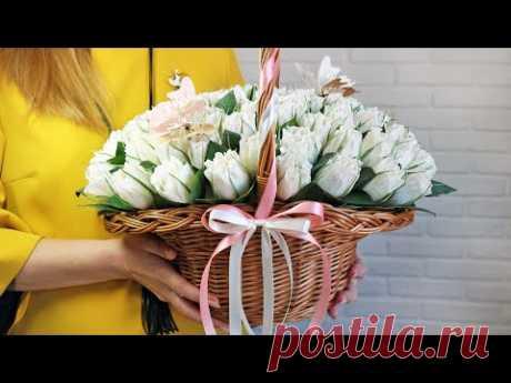 Нежный БУКЕТ из КОНФЕТ в корзине с бутонами роз СВОИМИ РУКАМИ