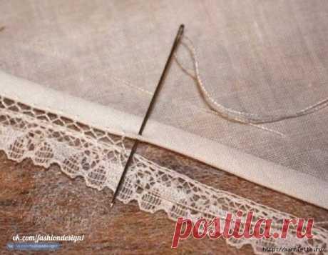 Способ соединения ткани и кружева вручную — Сделай сам, идеи для творчества - DIY Ideas
