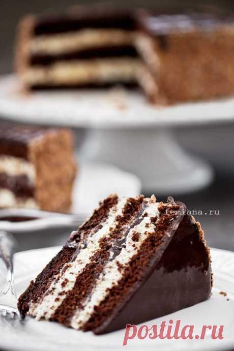 Шоколадно-кофейный торт со сливовым вареньем | FEMIANA