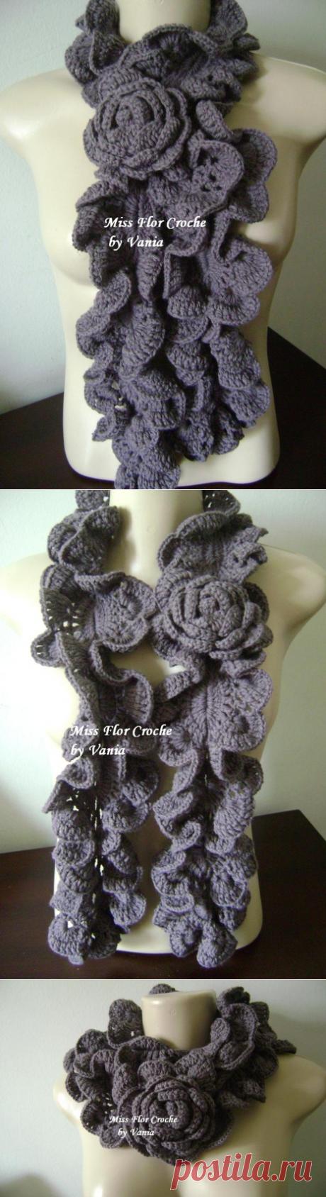Вязаные крючком цветочные шарфы, колье | Эфария