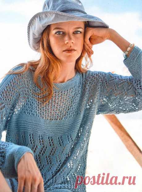 Летний пуловер сочетанием узоров спицами