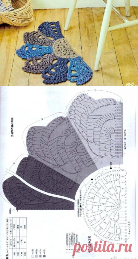 Полукруглый коврик из мотивов. Схема