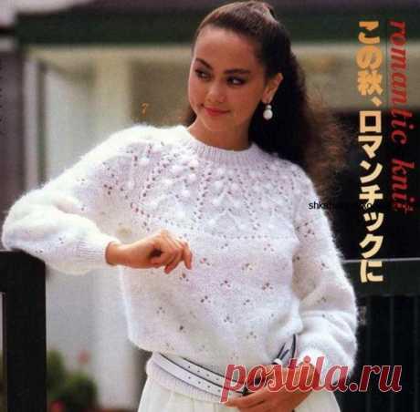 Пуловер из мохера с круглой кокеткой спицами  #вязание_спицами #для_женщин #круглая_кокетка #мохер #пуловер #схемы