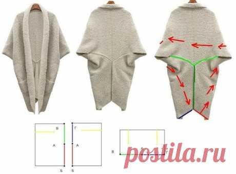 Очень простая выкройка кардигана Модная одежда и дизайн интерьера своими руками