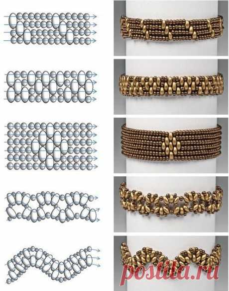 Bracelets from beads. 20 schemes of weaving.