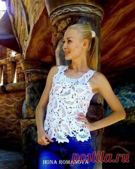 Irina Romanova Летняя блузка связана полностью крючком из вискозы в стиле ирландского кружева Авторская работа