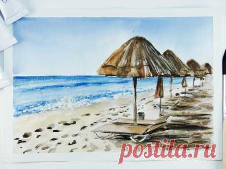 Рисуем пляж акварелью — Сделай сам, идеи для творчества - DIY Ideas