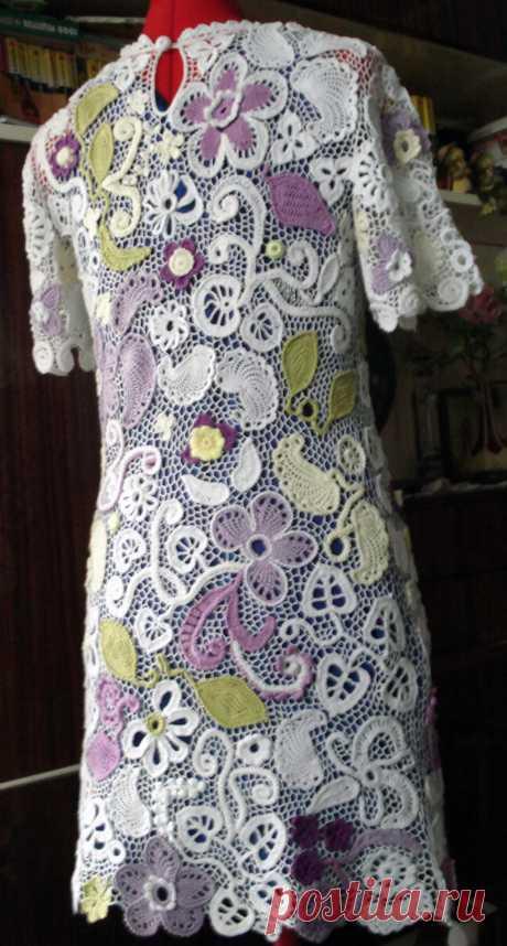 Купить платье ирландское кружево, размер 42-44, 15000 руб, вид со спины, хлопок 100%, импортная тонкая пряжа, вязание крючком
