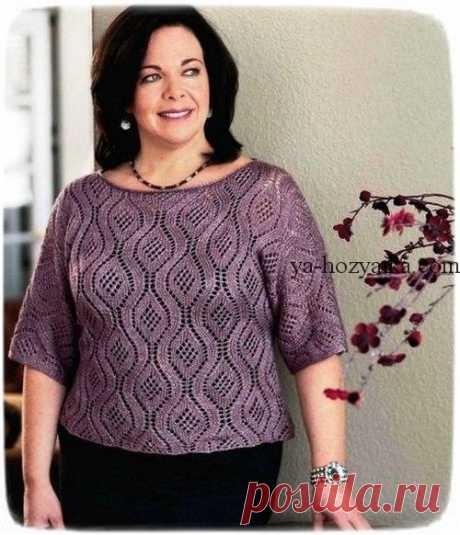 Вязаный красивый пуловер спицами из ажурных ромбов. Пуловер спицами для полных дам Вязаный красивый пуловер спицами из ажурных ромбов. Модель для барышень с пышными формами