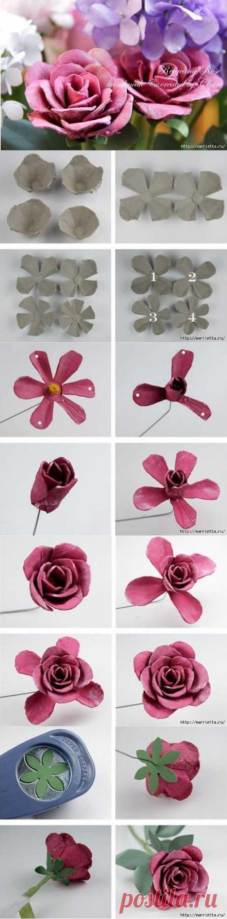 Самые красивые розы из яичных лотков. Мастер-класс.