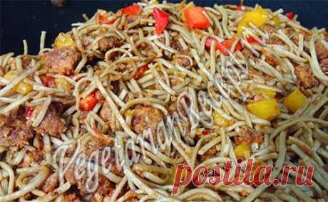 Якисоба - рецепт гречневой лапши с овощами и соевым мясом