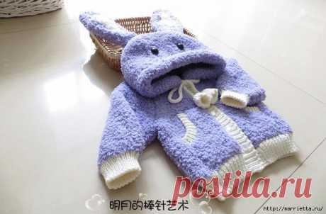 Вязание детской курточки с капюшоном с ушками кролика