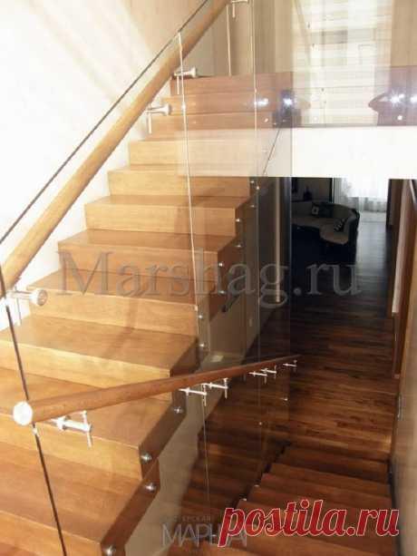 Лестницы, ограждения, перила из стекла, дерева, металла Маршаг – Ограждение самонесущее стеклянное