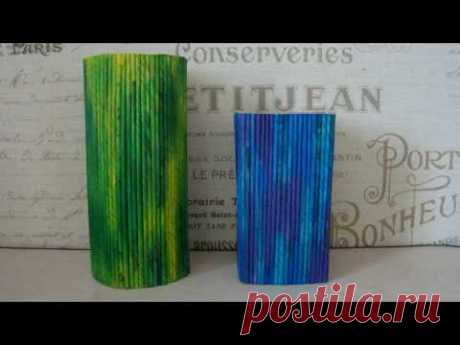 Vase from newspaper tubules without weaving. Very easy way.