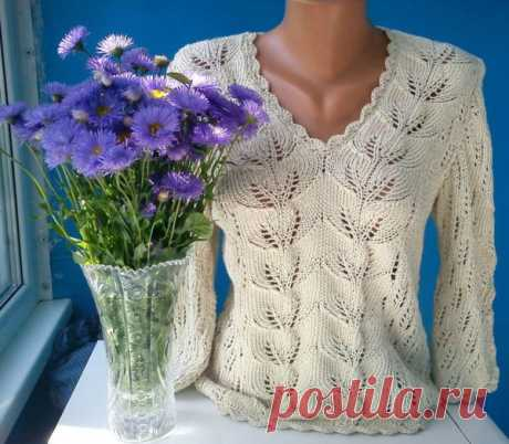 Красивый пуловер узором листья (Вязание спицами) | Журнал Вдохновение Рукодельницы