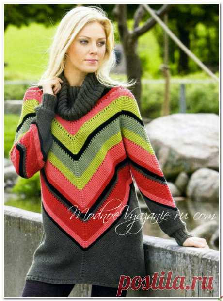 Яркий свитер в мексиканском стиле - Modnoe Vyazanie ru.com