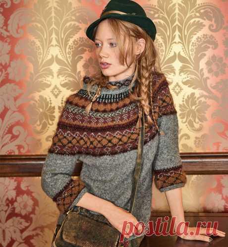 Пуловер с жаккардовым узором и укороченными рукавами - Портал рукоделия и моды