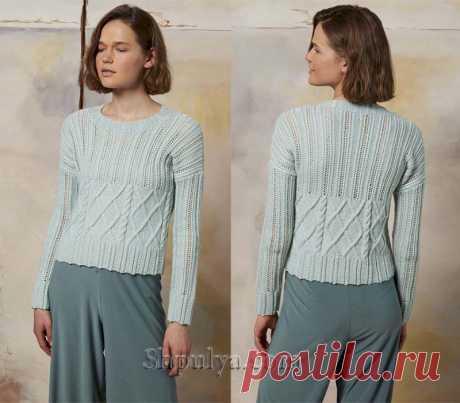 Летний пуловер мятного цвета с сочетанием узоров — Shpulya.com - схемы с описанием для вязания спицами и крючком