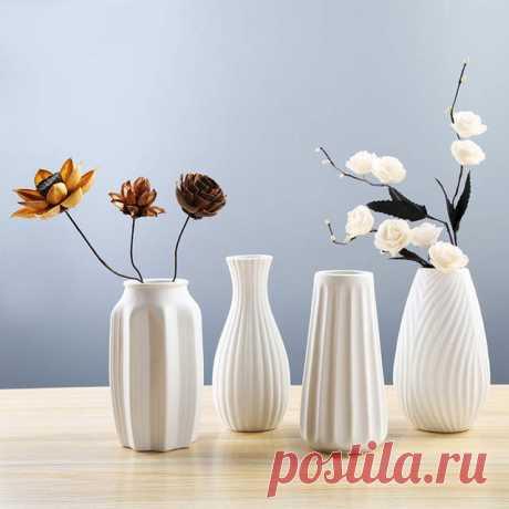 Интернет-магазин Китайские художественные поделки белые керамические вазы ручная работа сушеные цветы ваза украшения для дома и офиса креативные подарки мульти размер Flowertop | AliExpress для мобильных