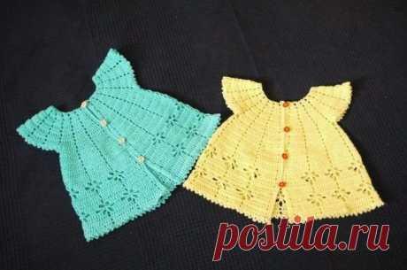 Детское платье крючком для малышки. Платье ажурное крючком для девочки с крылышками