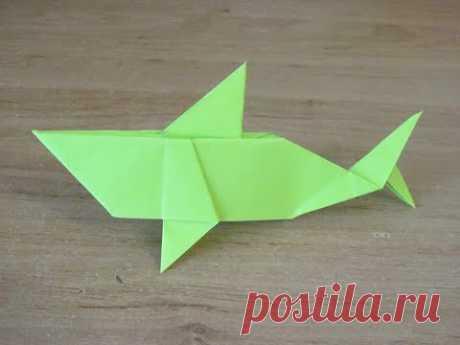 КАК сделать АКУЛУ из бумаги  БУМАЖНАЯ АКУЛА ОРИГАМИ PAPER  shark ORIGAMI