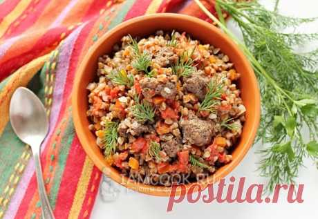 Buckwheat in a merchant way with forcemeat in the crock-pot — the recipe with a photo step by step