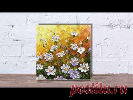 Paint wildflowers with impasto using Heavy body acrylic Part 2 - YouTube