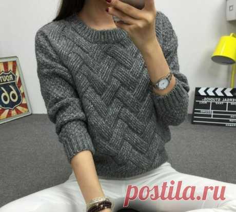 Пуловер с ложной косой
