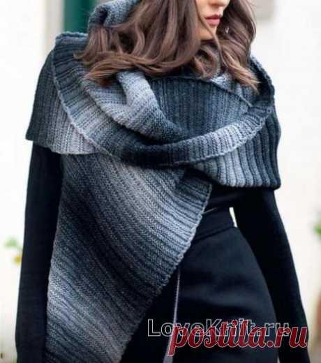 Шапка и шарф резинкой схема спицами » Люблю Вязать