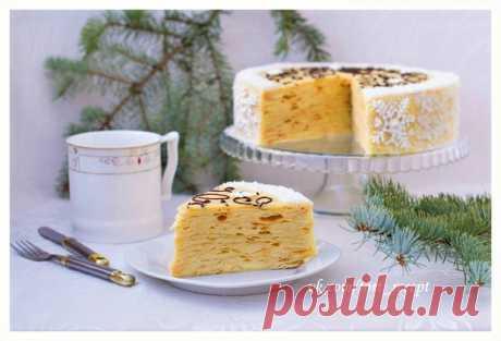 """Слоёный торт с заварным кремом """"Новогодний"""".  - Ингредиенты:  Коржи:  Показать полностью…"""