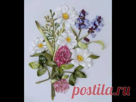 Вышивка лентами полевых трав и цветов