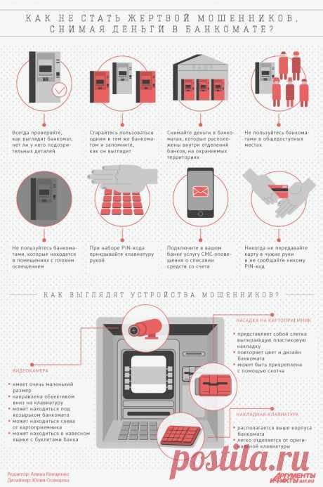 Как не стать жертвой мошенников, снимая деньги в банкомате? Инфографика | Инфографика | Аргументы и Факты