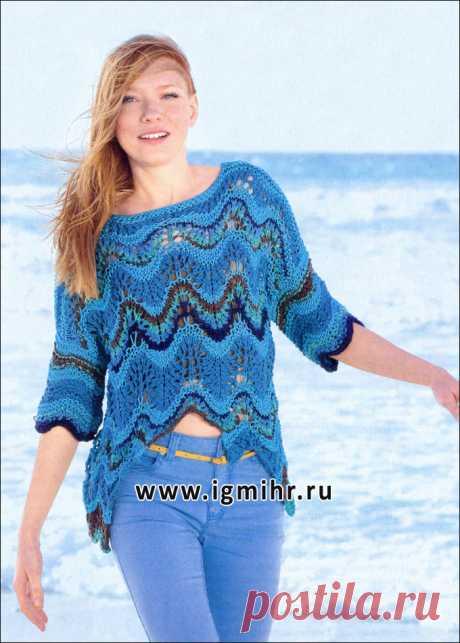 Летний синий пуловер с волнистыми узорами. Спицы