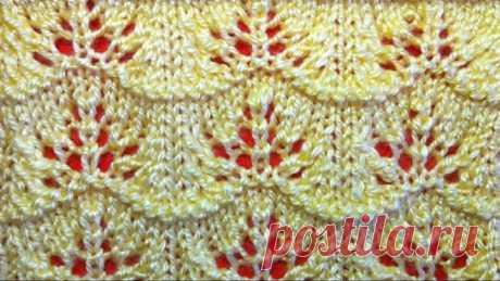 Ажурный узор спицами  Видео урок вязания на спицах для начинающих. Openwork pattern knitting needles