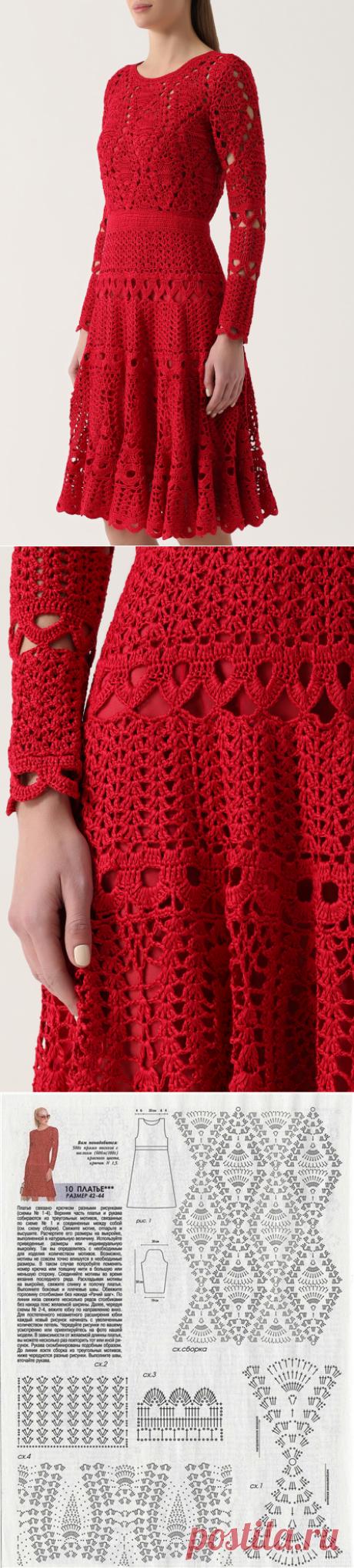 Красный Кардинал. Платье крючком от Oscar de la Renta