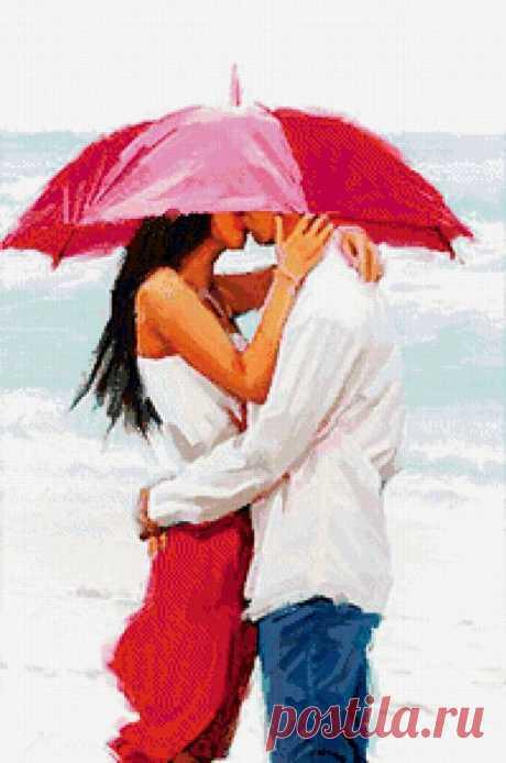 Предпросмотр схемы вышивки «поцелуй под зонтом» - Вышивка крестом