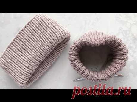 Красивый фиксированный отворот / подгиб спицами для шапок резинкой 1 на 1 и резинкой 2 на 2.