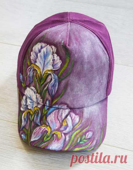 Ручная роспись кепки, ирисы | Пикабу