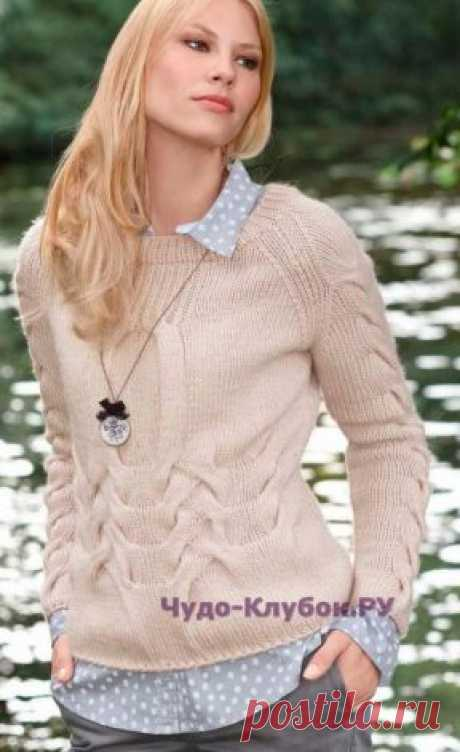 1014 Пуловер с рукавами реглан   ЧУДО-КЛУБОК.РУ